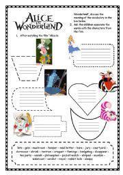 english worksheet alice  wonderland alice
