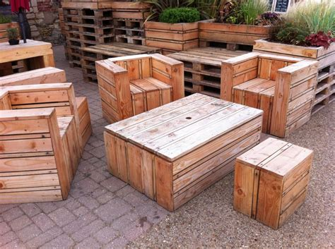 Furniture Made With Pallets by Tables Chairs Made Out Of Pallets At The Quay Side In