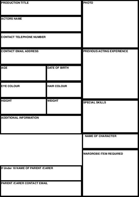 casting text template casting sheet template
