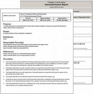 Writing Policies And Procedures Template Standard Operating Procedures For Nonconformances