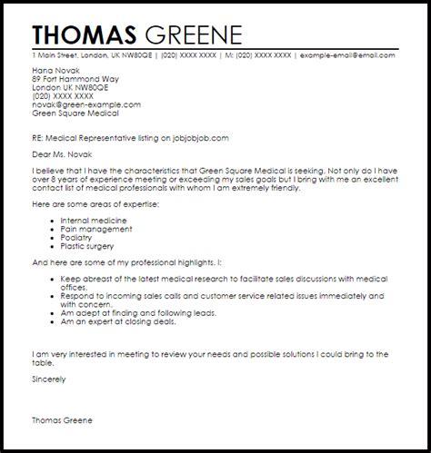 medical representative cover letter sle cover letter