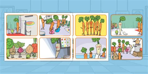 * New * Carrot Club Story Sequencing Cards  Originals, Fiction, Ks1, Healthy