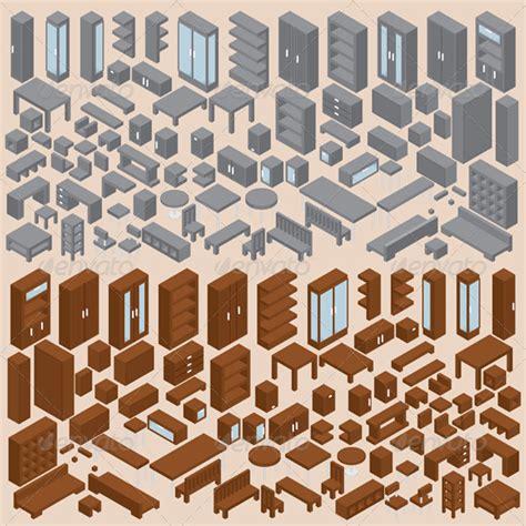 isometric furniture vector set    isometric drawing isometric art isometric design