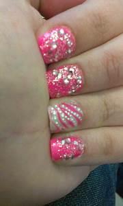 Glitter rhinestone nails more art design hot pink