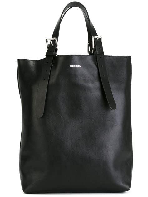 lyst diesel buckle strap shopper bag  black