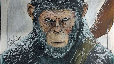 Planet Of The Apes Drawing, Pencil, Sketch, Colorful