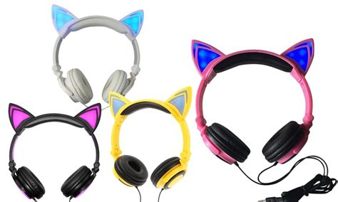 headphones with light up cat ears 85 off on jamsonic light up cat headphones livingsocial