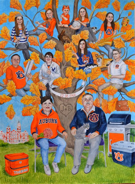 gifts for auburn fans parents anniversary gift idea archives family tree paintings