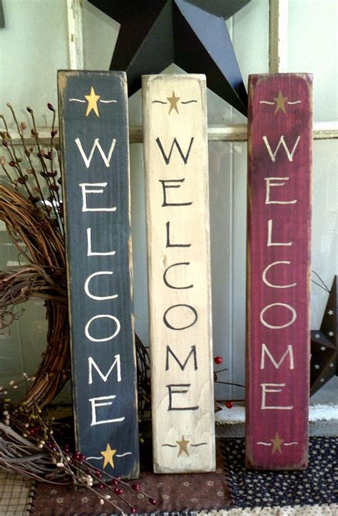Welcome Sign Vertical Primitive Wooden