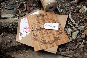 dana matt39s rustic floral wood veneer wedding invitaions With diy wedding invitations gold coast