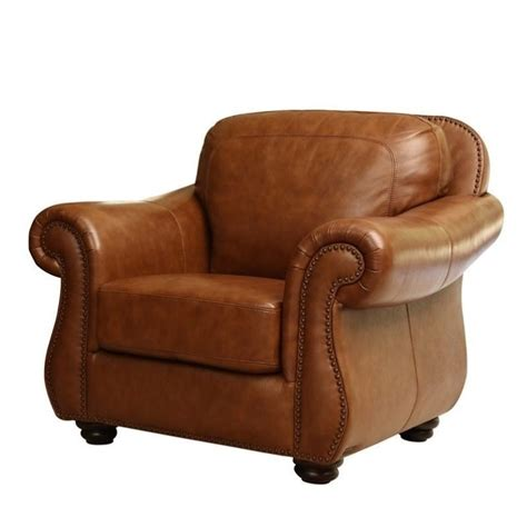 abbyson living erickson leather accent chair in camel