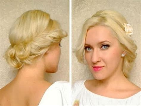 cute easy curly updo hairstyle for medium long hair