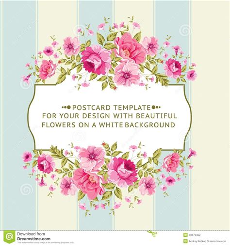 border  flowers  vintage style stock vector