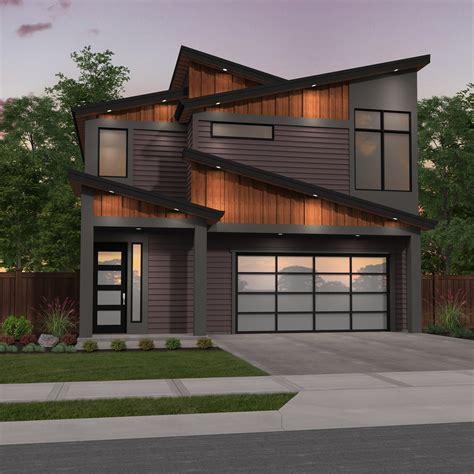 narrow modern  story house plan good edge  mark stewart