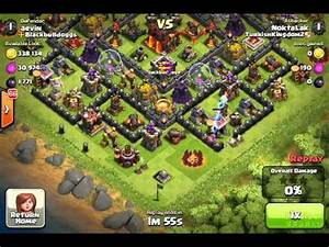 Clash of Clans my base Against barbarian king level 40 ...