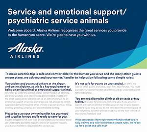alaska airlines updates policy on emotional support With documentation for emotional support dog