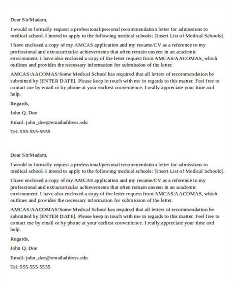 medical school recommendation letter  word