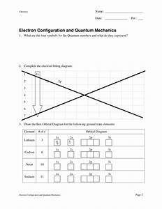 Electron Configuration And Quantum Mechanics Worksheet For