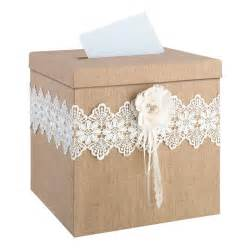 gift box for wedding wedding card box rustic burlap and lace
