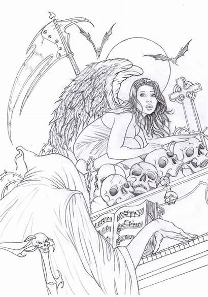 Coloring Gothic Adult Adults Deviantart Printable Death