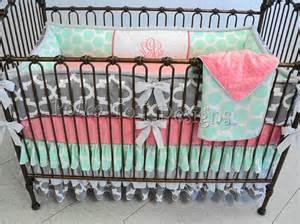 mint gray coral baby girl bedding skye
