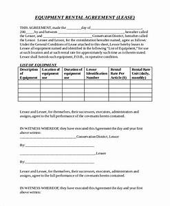 21 equipment rental agreement templates free sample for Equipment lease agreement template south africa