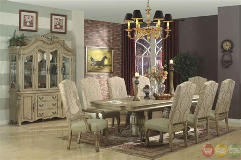 traditional antique white formal dining room furniture set