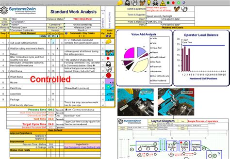 standard work excel template standard work standardized work