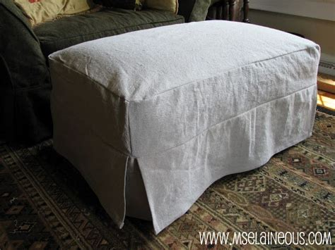 simple ottoman slipcover  corner pleats  canvas dropcloth  welting slipcovers