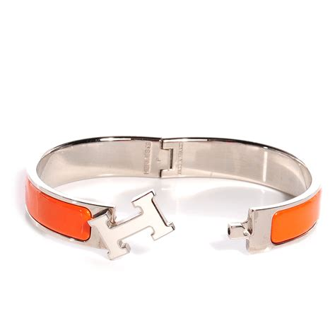 hermes narrow enamel clic clac h bracelet pm orange and white 45878
