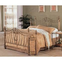 queen size metal bed with headboard and footboard in