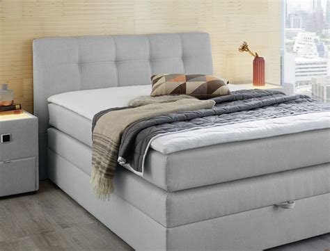 boxspringbett amalina 140x200 grau mit bettkasten und topper hotelbett wohnbereiche schlafzimmer