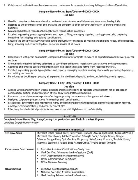 Executive Assistant Resume by Executive Assistant Resume Exle And 5 Tips To Writing