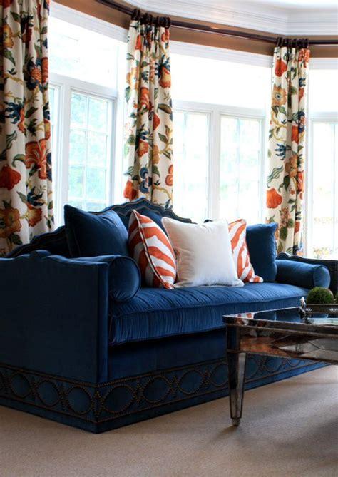 orange and blue curtains blue velvet sofa transitional living room porter