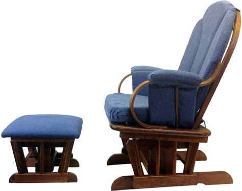 shermag glider rocker and ottoman corduroy blue
