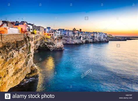 Puglia Italy Sunset Scenery Of Polignano A Mare Town In