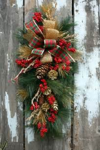 christmas swag plaid and gold ribbon gold pinecones icy branches christmas swags swag and