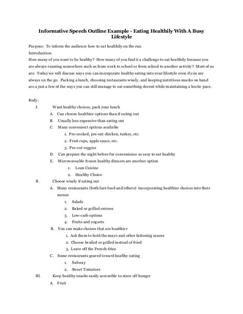informative speech outline template word speech outline