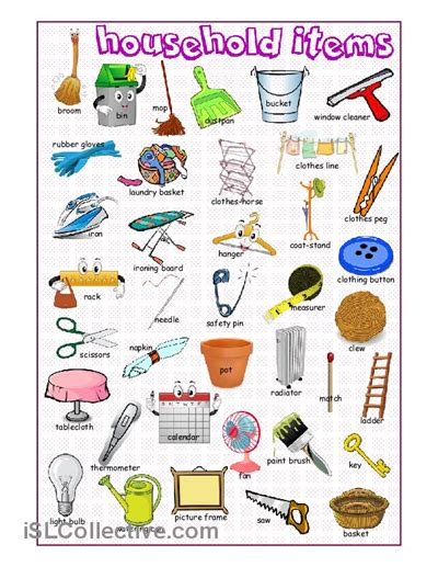 household items picture dictionary learn english