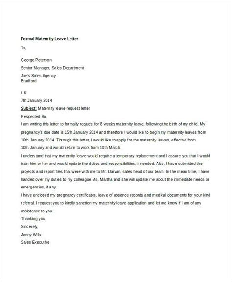 formal letter  leave request leave  absence letter