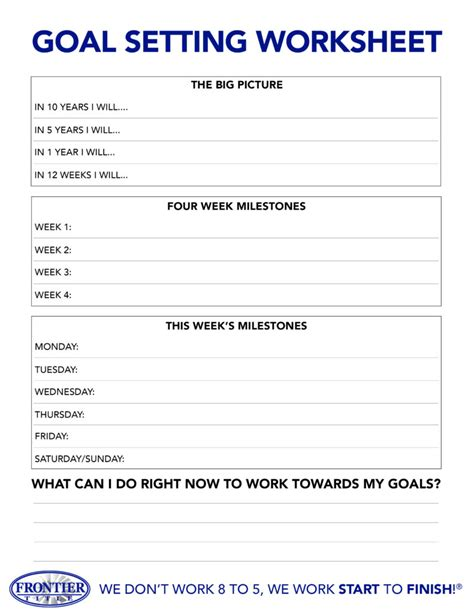 download now goal setting worksheet frontier title