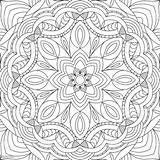 Mandala Coloring Adults Vector Flower Square Rectangular Pattern Anti Stress Abstract Drawn Illustration Monochrome Ethnic Element Isolated Decorative Arabia Bohemia sketch template