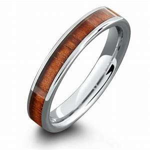 4mm wood wedding band made out of tungsten carbide With wedding rings made of wood
