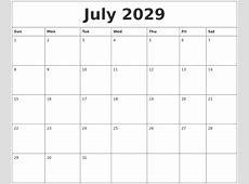 July 2029 Printable Calendar Free