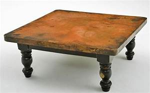 copper coffee table wood pedestal base eclectic With copper and wood coffee table