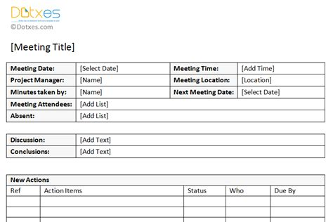 meeting minutes template  printable formats  word