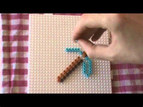 buegelperlen vorlage minecraft  hacke perler beads youtube