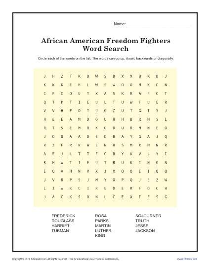 freedom fighter s word search black history month worksheets