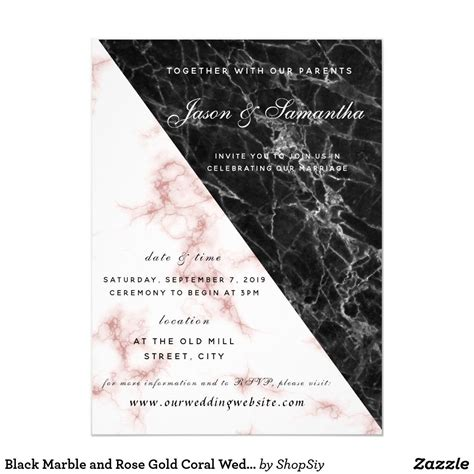 Black Marble and Rose Gold Coral Wedding Invitation