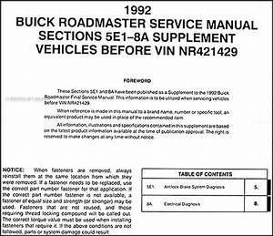 1992 Buick Roadmaster Abs And Electrical Manual Supp 92